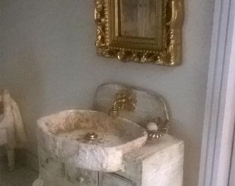 Miniature Dollhouse BATHROOM CABINET with MIRROR-bathroom Cabinet with mirror