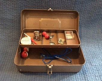 Vintage Metal Tackle Box with Fishing Accessories