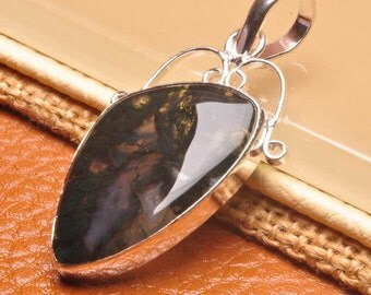 Moss Agate silver plated  pendant  (#J1755)