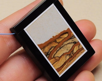 Picture Jasper, Black Onyx intarsia frame pendant bead   (#J1677)