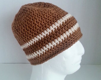 Mens Crochet Beanie, Men's Crochet Hat Two-Toned Camel Brown and Off White, Mens Crochet Winter Hat, Mens Crochet Slouch Beanie