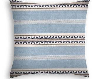 Boho Stripe Pillow Cover in sky blue, navy and cream.