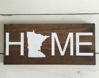 State HOME wood sign, Minnesota home handmade wood sign, state wood sign, home decor, nursery wood sign, baby wood sign, wood signs,