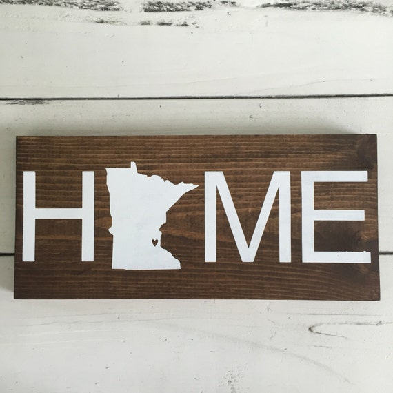 State Home Wood Sign Minnesota Home Handmade Wood Sign State