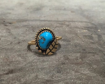 Traditional Style Sleeping Beauty Turquoise w/Pyrite Brass Ring (6.5)