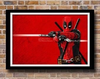 Deadpool Digital Painting Print, Marvel Comics