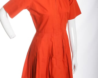 Vintage Cotton Pleated Day Dress