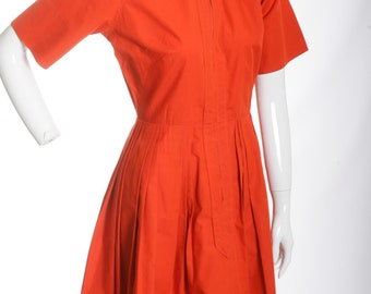 FREE US SHIPPING Vintage Cotton Pleated Day Dress