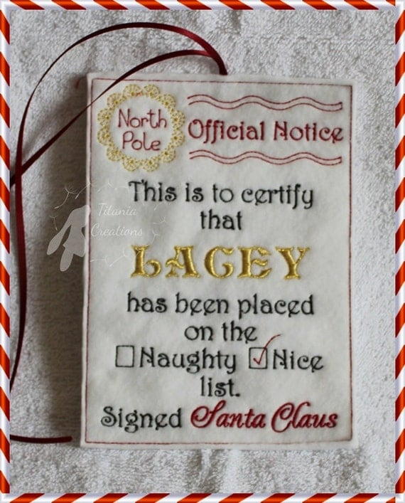 ith santas official nice list notice letter scroll machine