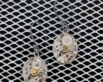 Steam Punk Watch Movement and Sterling Silver Earrings Women's Accessories