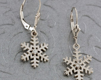 Winter Snowflake Earrings set in 14K Gold with Diamond Accents