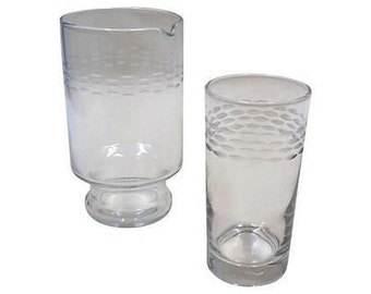 Personal Drink Set, Pitcher and Tumbler in Etched Glass