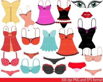 Lingerie Valentine's Clip Art - PNG,EPS-Digital Clip Art Graphics, Personal, Commercial Use (73 png format)-059-