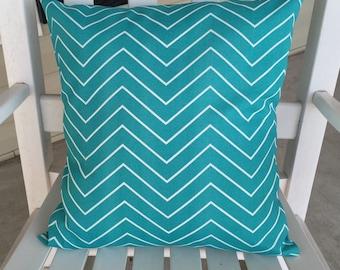 Chevron Turquoise 16 x 16 Pillow Cover