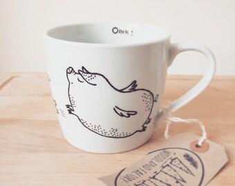 Flying Pig mug - hand painted illustrated quirky wild animal funny cute piglet dish funky farm vegan fauna present cartoon christmas gift