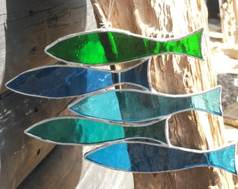 "Fabulous Five Fish ""Sprats"" Blue & Green Stained Glass Suncatcher"