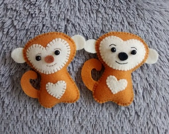 Felt Monkey/ Christmas Monkey Ornament/ Christmas Ornament/ Handmade