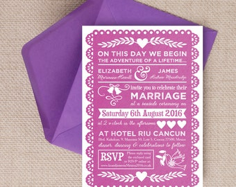 Pink Papel Picado Mexican Bunting Wedding Invitation & RSVP with envelopes