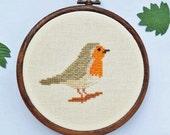 Cross stitch Robin pattern. Cross stitch bird. robin cross stitch. Small cross stitch. Instant download PDF pattern.