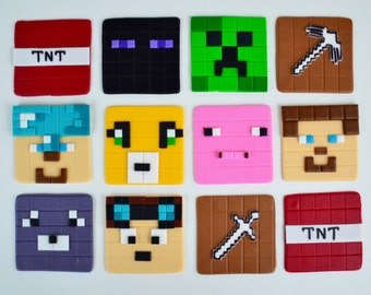 Edible Minecraft Inspired Fondant Cupcake Toppers