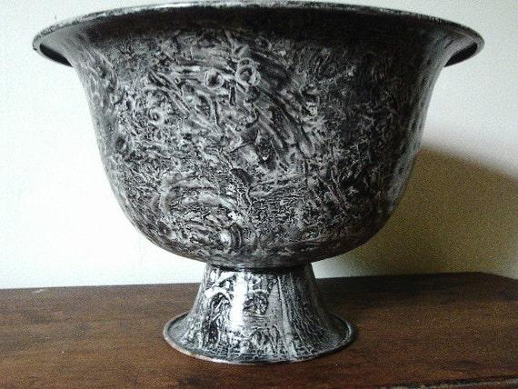 Metal urn vinegar painted in black and white