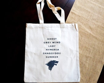 Game of Thrones Tote Bag || Stark Tote bag || Stark Bag || Direwolves Bag || Stark Children Direwolf Bag || Game of Thrones