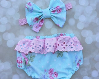 floral baby girl bloomer+bow set//baby diaper cover//baby bloomers