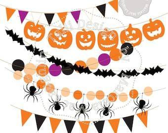 Halloween Clip Art HALLOWEEN Bunting Flags and Banners- Clipart flags decor pumpkins spiders bats wreath orange black garland