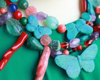 "Necklace  ""Turquoise Butterflies"""
