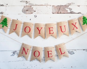 Joyeux Noel Banner, Christmas Banner, Christmas Decor, French Christmas Banner, Holiday Decor, Joyeux Noel, B224