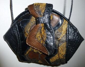 80's Patchwork Faux leather and Textile handbag