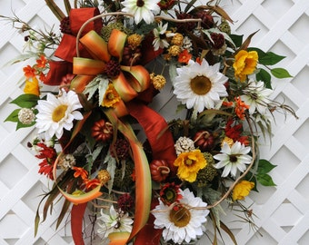 Fall/Autumn Wreath, Sunflower Wreath, Fall Wreath,