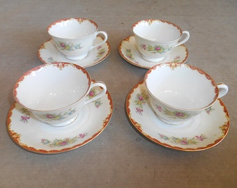 Set of Four Sanyo Cup and Saucer Porcelain Occupied Japan