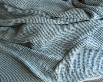 Linen fabric,linen bedding,rustic or modern living, bed blanket, waffle textured,Coverlet, linen cotton fabric