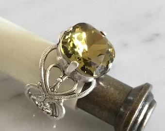 Swarovski Khaki Filigree Ring,  Khaki Crystal Silver Filigree Ring, Swarovski Khaki Crystal Ring
