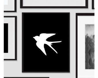 Sparrow Bird, Black White, Print and Ship, Wall Art, Artwork, Home Decor, Modern Print, Print Art, Nature Art, Color, Decorations, Digital