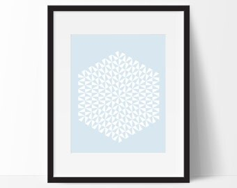 Geometric Print Art, Geometric Art, Geometric Printable, Digital Art Print, Geometric Print, Instant Download, Modern, Blue