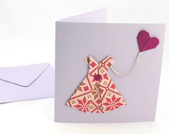 Greeting card, dress origami