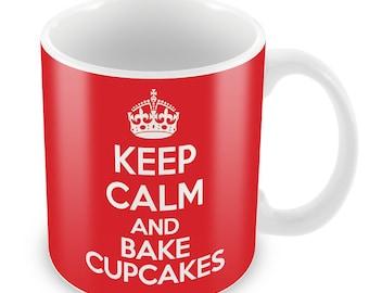 Keep Calm And Bake Cupcakes Mug- Celebrations Gift Present birthday Christmas office secret santa coffee tea