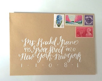 Envelope Addressing with Modern Calligraphy and White ink