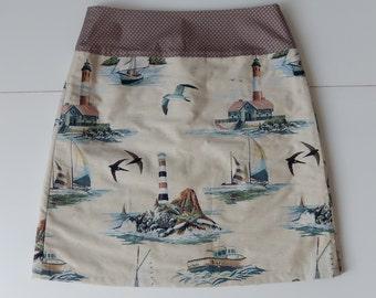 Skirt with print of ships, boats, birds, lighthouses, A-line skirt, blue brown, size EU 38/40 (USA  8/10 - UK 10/12), cotton, lining, zipper