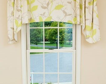 "Custom Valance- *Designer-Favorites, Arch Valance with Gutter Jabots, 50""W x 20/33""L, Window Treatment, 'Autumn Leaves'"
