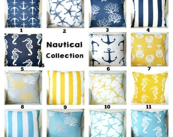 Nautical Pillow Covers, Navy Yellow Coastal Blue Cushions, Throw Pillows, Stripe Starfish Beach Decor One or More Mix & Match All Sizes