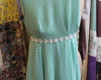 Pale green polka dot  lined dress REF 316