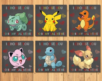 Pokemon Valentine's Day Cards Chalkboard Value Pack * Pokemon Valentines * Pokemon Favors * Pokemon School Valentines * Pikachu Valentine