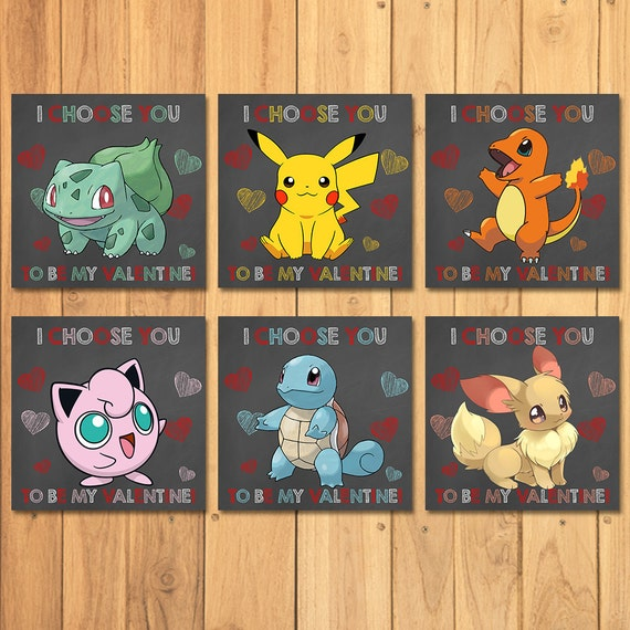 Pokemon Valentine's Day Cards Chalkboard Value Pack * Pokemon Valentines * Pokemon Favors * Pokemon School Valentines * Pikachu Valentine