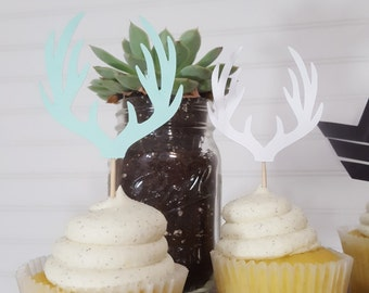 Wild Woodland Rustic Camping Deer Antler Cupcake Topper First Birthday Party