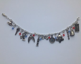 Dr Who charm bracelet, whovian, geeky jewellery, comic con jewellery