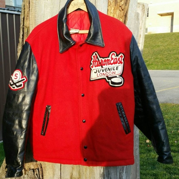 Vintage Red Black Chenille Patch Stitched Letterman Hockey