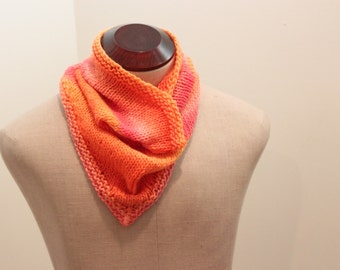 Hand Knitted Sunrise Colors Bandanna Cowl